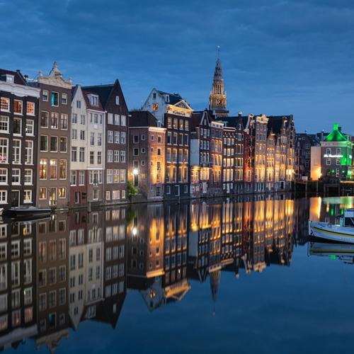 Damrak Amsterdam Blue Hour